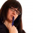 Business Lady with a pen — Stock Photo