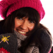 Portrait of a young woman in winter clothes — Stock Photo