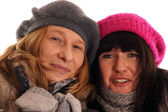 Two young women in winter clothes — Stock Photo