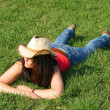 Stock Photo: Pretty girl in green grass