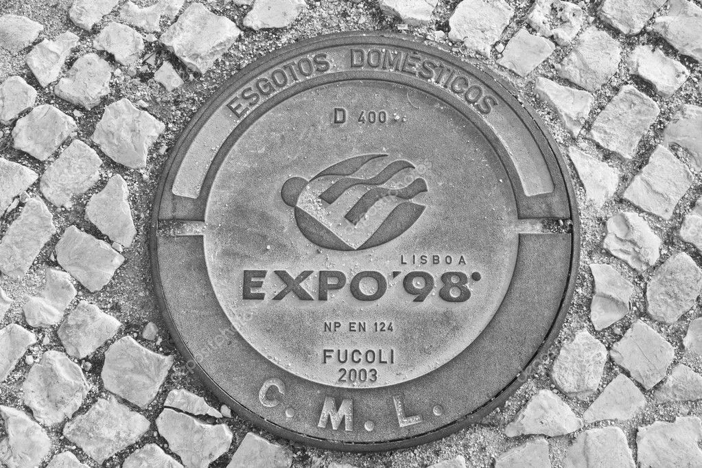 Expo 98 manhole in black and white  Stock Photo #9231712