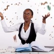 Woman throwing money in the air — Stock Photo
