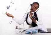 Overwhelmed receptionist — Stock Photo
