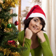 Happy smiling Xmas girl — Stockfoto