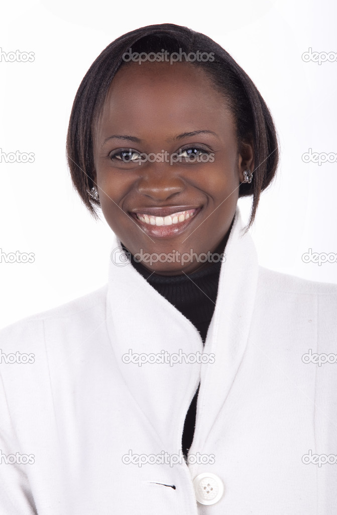 Smiling young South African woman on a white background with winter's clothes. — Stock Photo #8821042