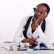 Overwhelmed receptionist — Stock Photo