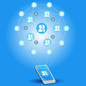 Mobilní sociální sítě — Stock vektor