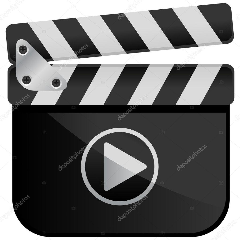 movie media player film slate � stock vector