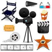 Iconos de película de cine — Vector de stock