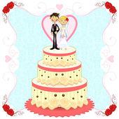 Romantic Wedding Cake — Stock Vector