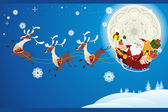 Rentiere und Weihnachtsmann Weihnachten — Stockvektor