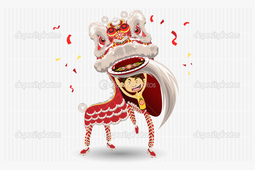 Chinese Lion Dance Vector of Chinese Lion Dancing