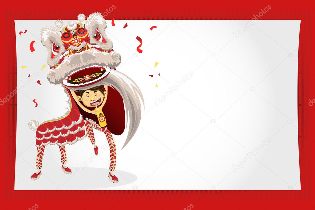 chinese new year greeting card lion dance  stock vector, Greeting card