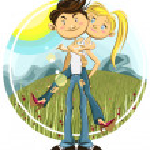 Spring Valentine Couple — Stock Vector