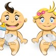 Stock Vector: Baby Boys And Girls