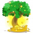 Gold money tree — Stock Vector