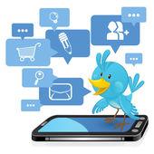 Sosyal ağ medya mavi kuş — Stok Vektör