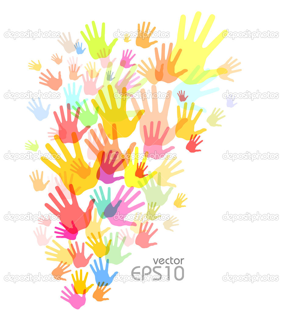 Colorful Hands Background Colorful Hand Print Background