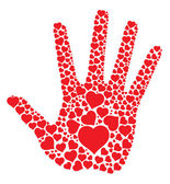 Hand print with hearts — Stock Vector