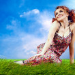 Young women dreaming on the outdoor background — Foto Stock