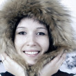 Portrait of happiness young woman in winter hat - 图库照片