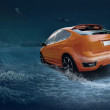Motions car in underwater ocean life - 图库照片