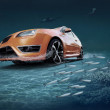 Motions car in underwater ocean life — 图库照片
