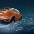 Motions car in underwater ocean life — Foto de Stock