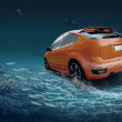 Motions car in underwater ocean life — Stock Photo #8781753