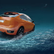 Motions car in underwater ocean life — Stock Photo