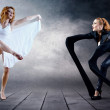 Stock Photo: Black and White Dancers in posing on background