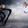 Black and White Dancers in posing on background — Stock Photo #8781854