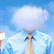 Happiness businessman under blue sky with clouds - Stock Photo