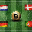 Group of UEFA EURO Championship on the Grunge football field tex - Stock Photo
