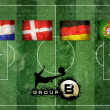 Royalty-Free Stock Photo: Group of UEFA EURO Championship on the Grunge football field tex