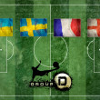 Group of UEFA EURO Championship on the Grunge football field tex - 