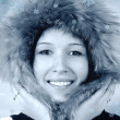 Portrait of happiness young woman in winter hat — Stock Photo