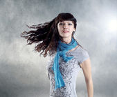 Young beatiful caucasian women with hair on the wind — Stock fotografie