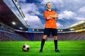 Futbolcu alanına stadyumu — Stok fotoğraf