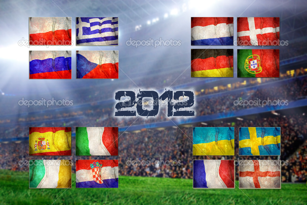 Group of UEFA EURO Championship on the Grunge football field texture background — Stock Photo #8782342