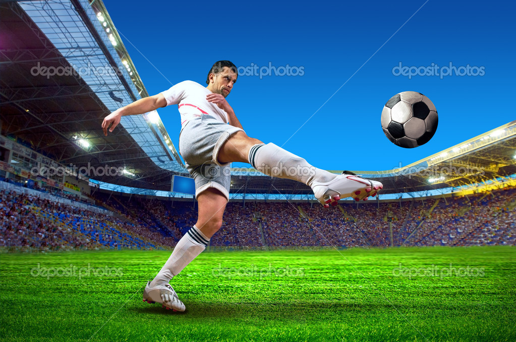 Football player on field of stadium — Stock Photo #8784089