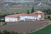 Monastery with vineyard located in the region Conca de Barbera. Catalonia, Spain — Stock Photo