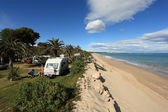 Camping site on the beach in Catalonia, Spain — Stock Photo
