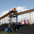 Black coal at the industrial port - Stock Photo