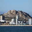 Port of Alicante and Santa Barbara castle, Spain - Stock Photo