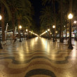 Promenade in Alicante illuminated at night, Catalonia Spain - Stock Photo
