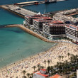 Aerial view of the beach and marina in Alicante, Spain - Stock Photo