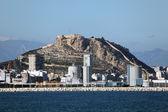 Port of Alicante and Santa Barbara castle, Spain — Stock Photo