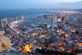 Aerial view of Alicante at dusk. Catalonia, Spain — Stock Photo