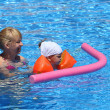 Stock Photo: Girl with her mother in the swimming pool